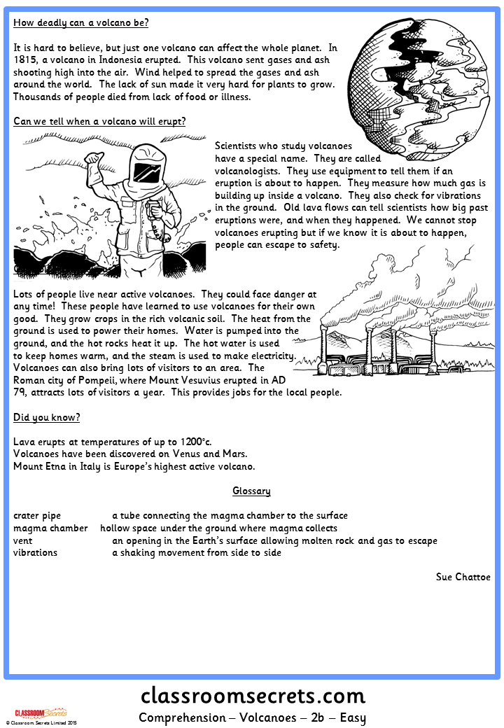 Volcanoes comprehension classroom secrets volcano reading sheet 8th grade pdf my mouth is
